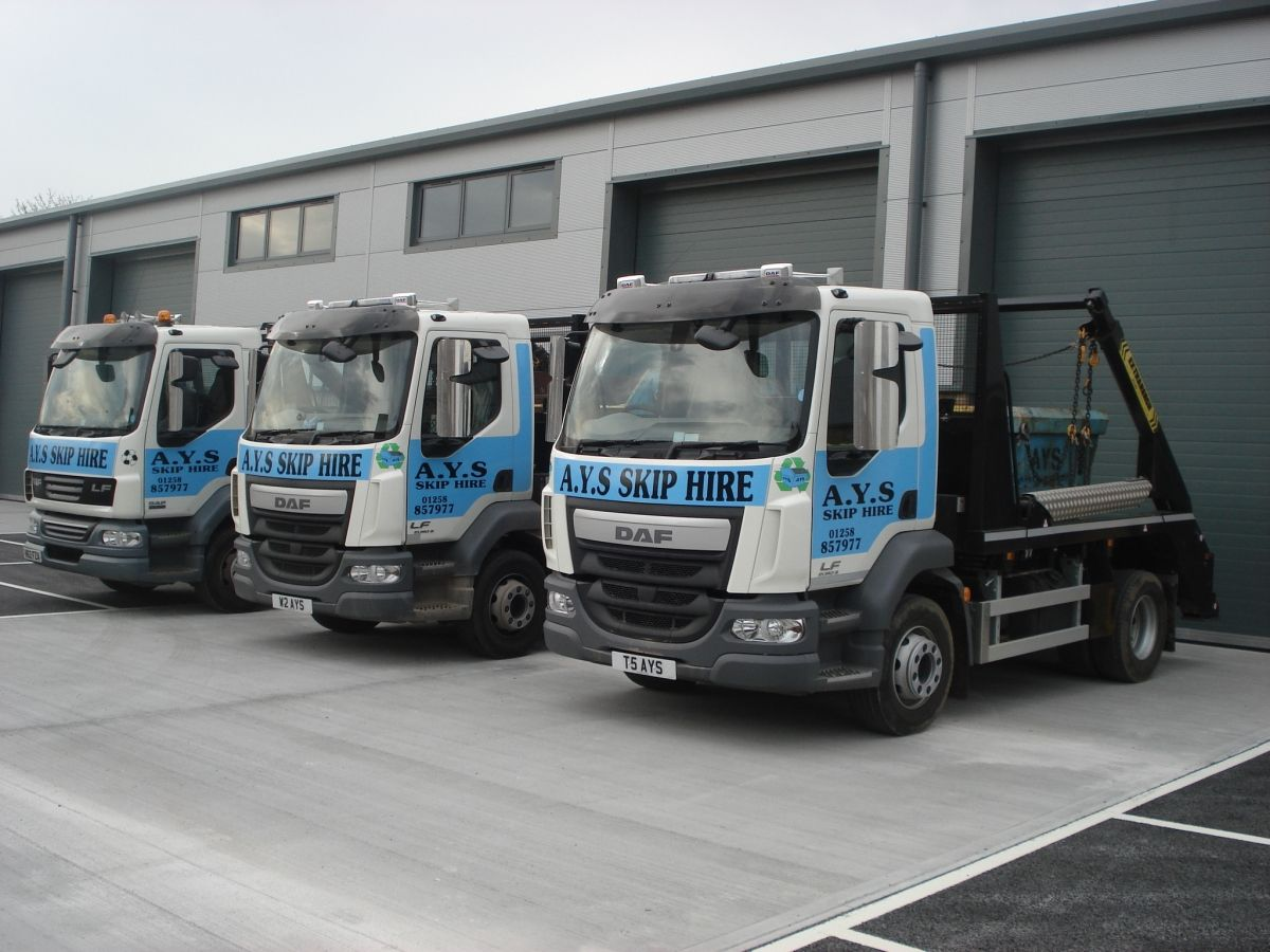 3 of Our Skip Trucks at Our Wimborne HQ