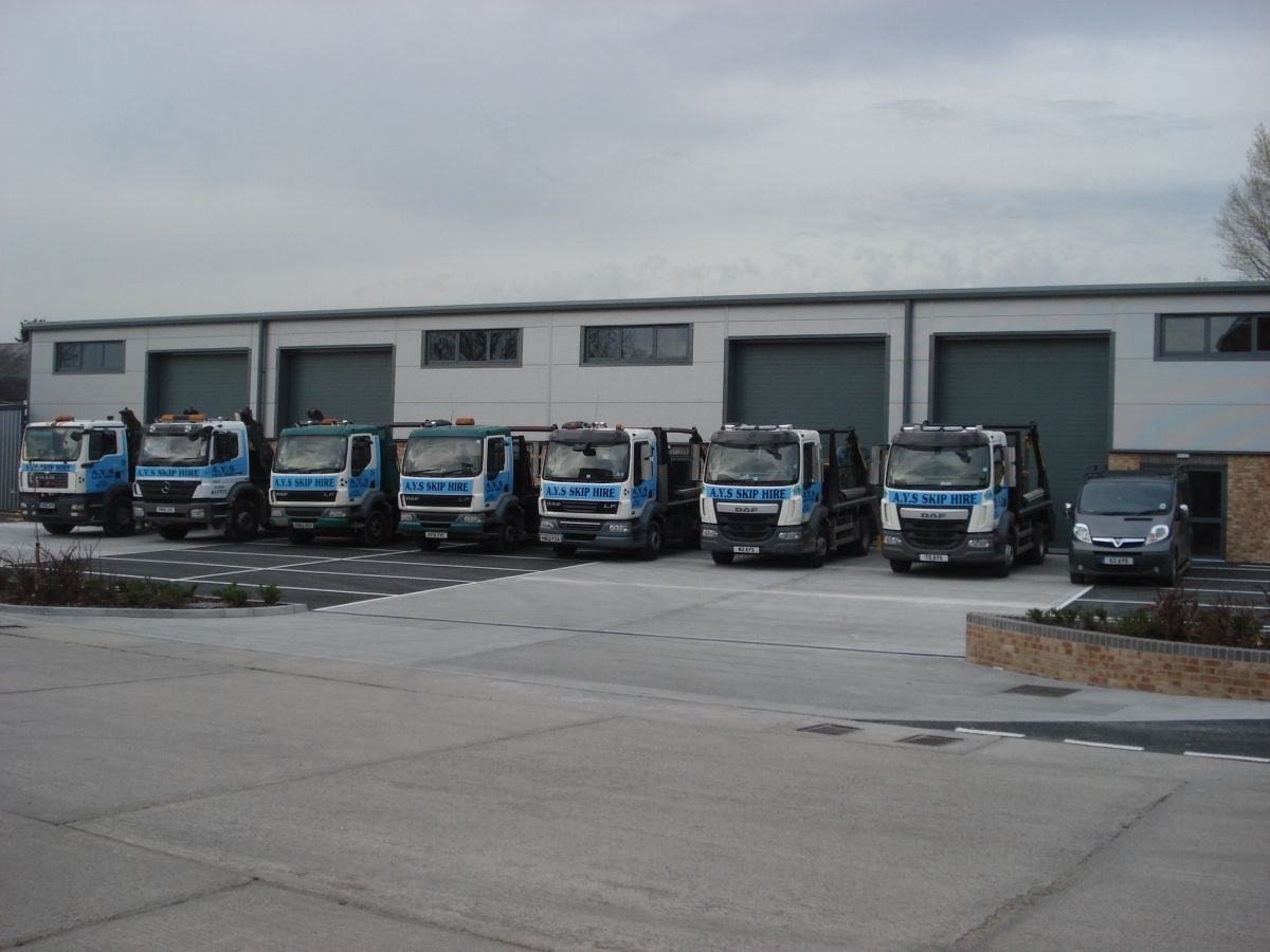 The Fleet of AYS Skip Trucks