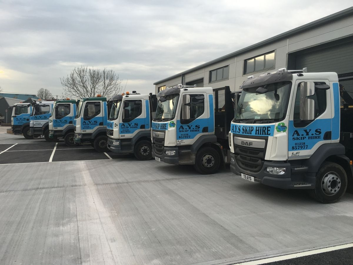 The AYS Fleet of Skip Trucks