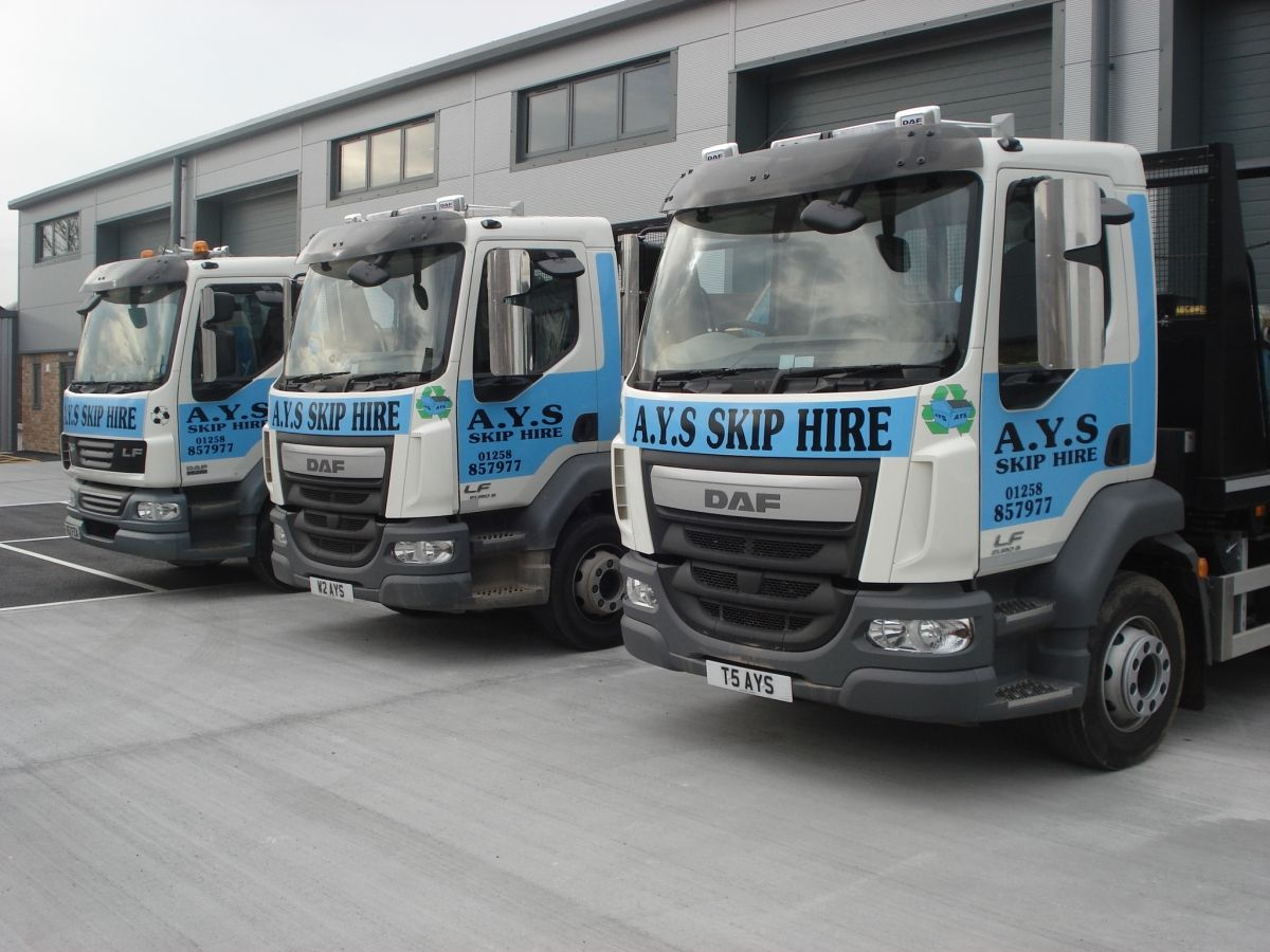3 of Our Skip Trucks in a Row