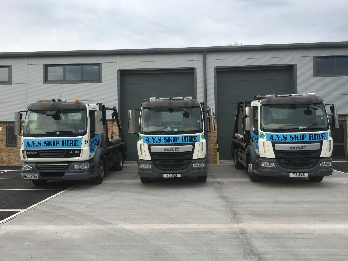 3 of Our Skip Hire Delivery Trucks