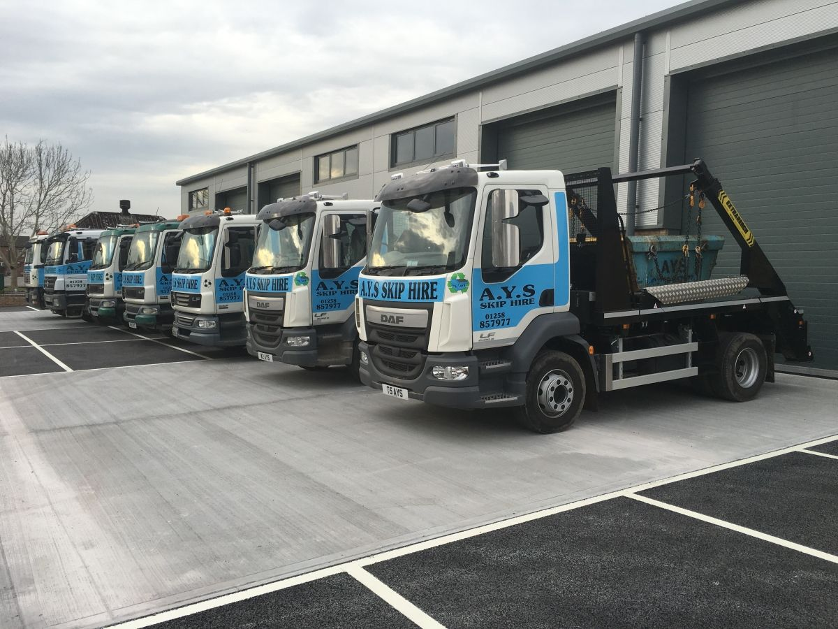Fleet of AYS Skip Hire Vehicles