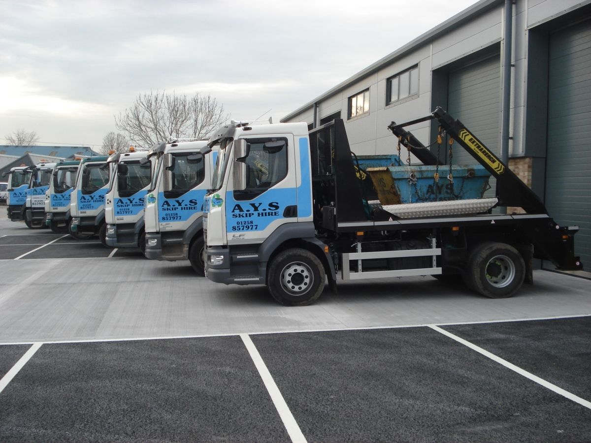 A Line up of Our Skip Delivery Fleet